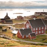 View of Ilulissat with Zion church and museum