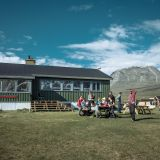 Guests at the Qooqqut Nuan restaurant in the fjord near Nuuk in Greenland
