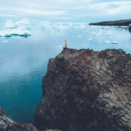 Overlooking Disko Bay on the hike to Kuannit from Qeqertarsuaq