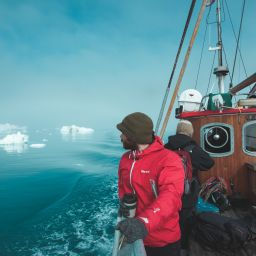 Exploring Disko Bay on an old wooden boat