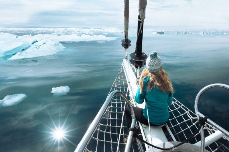 On a sailing boat not far away from Ilulissat