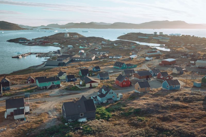 View over Narsaq in South Greenland