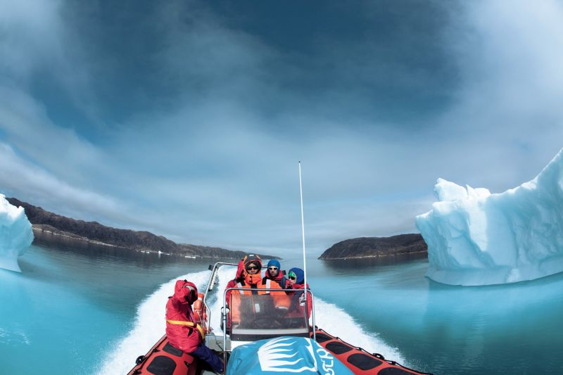 Transfer by RIB boat to Qaleraliq Glacier Camp