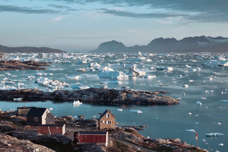 The ice filled Sermilik Fjord near Tiniteqilaaq in East Greenland