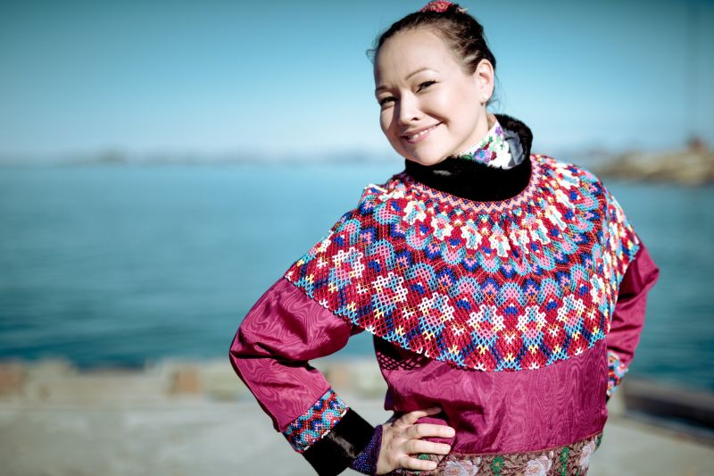 A women from Nuuk in Greenland wearing her national costume for the National Day celebrations on June 21