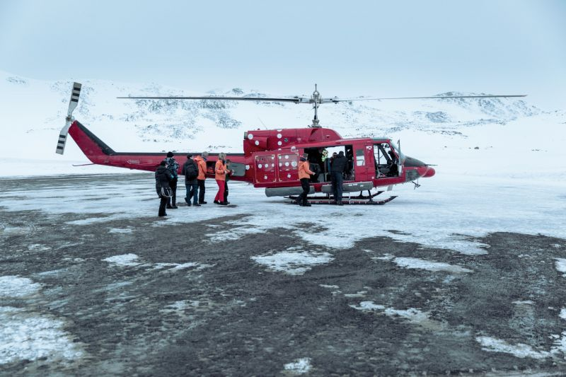 The helicopter transferring passengers from Kulusuk to Tasiilaq