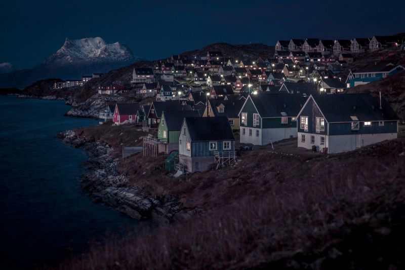 The Myggedalen neighbourhood in Nuuk on an autumn evening in Greenland