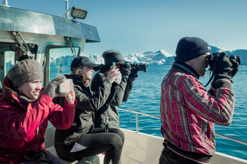 Whale watching in Disko Bay Greenland