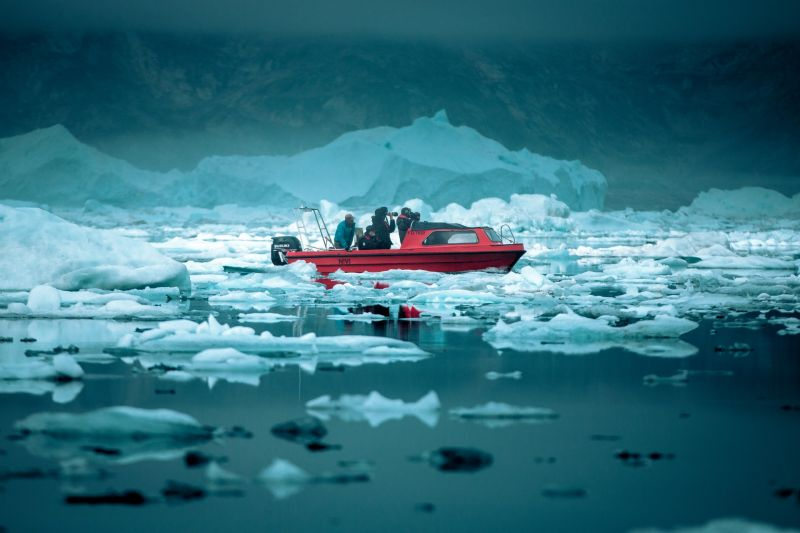 On a boat tour through the ice-filled Sermilik Fjord in East Greenland