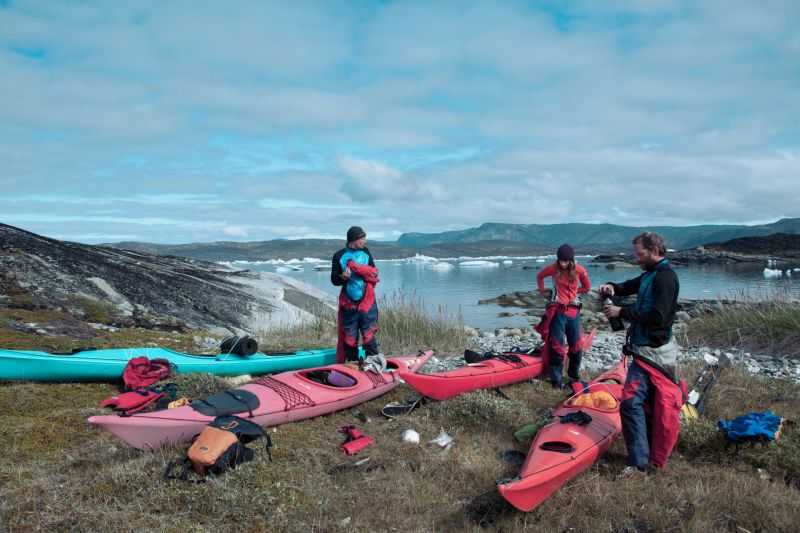 Preparing for a small kayak trip in Disko Bay