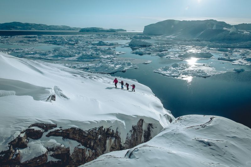 Snowshoeing along the Ilulissat Icefjord in Greenland