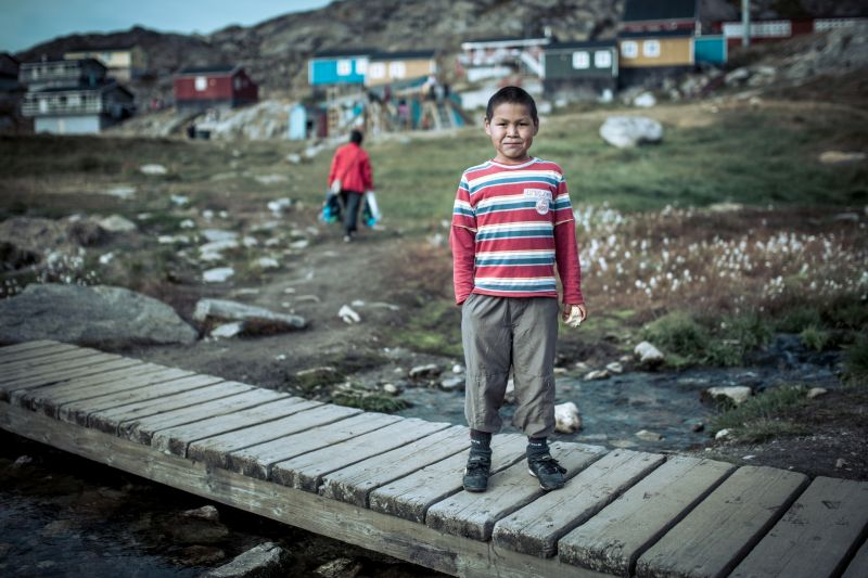 A boy in Kuummiut in East Greenland