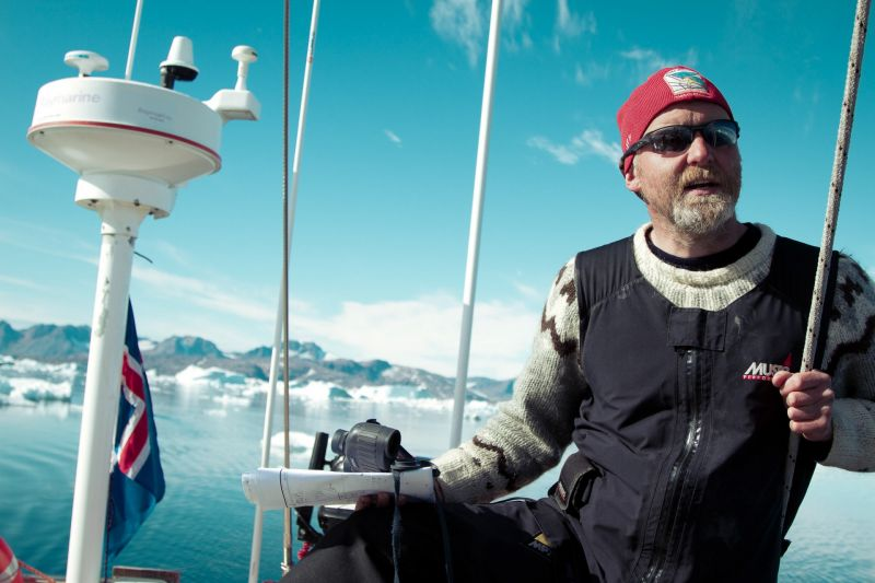 Captain Siggi on board the sailing boat Aurora