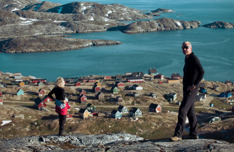 Overlooking settlement Kuummiut in East Greenland
