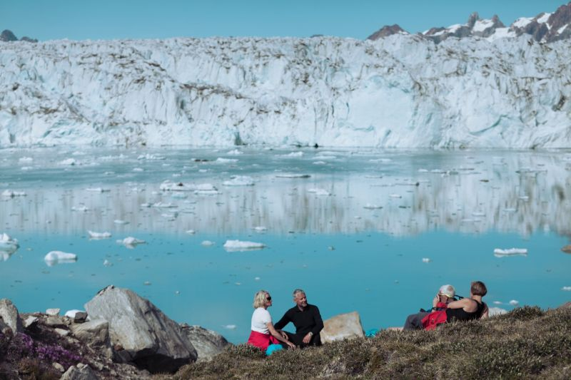 Picnic in front of Knud Rasmussen Glacier