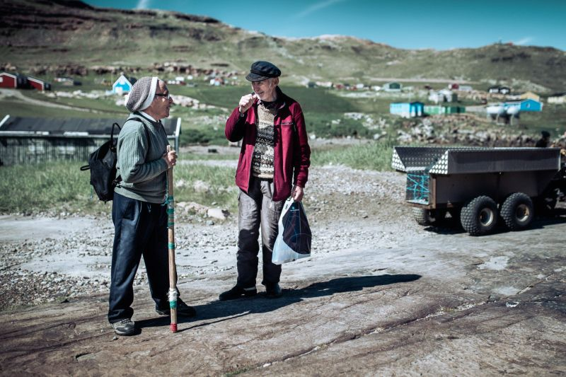 Locals chatting in Igaliku in South Greenland