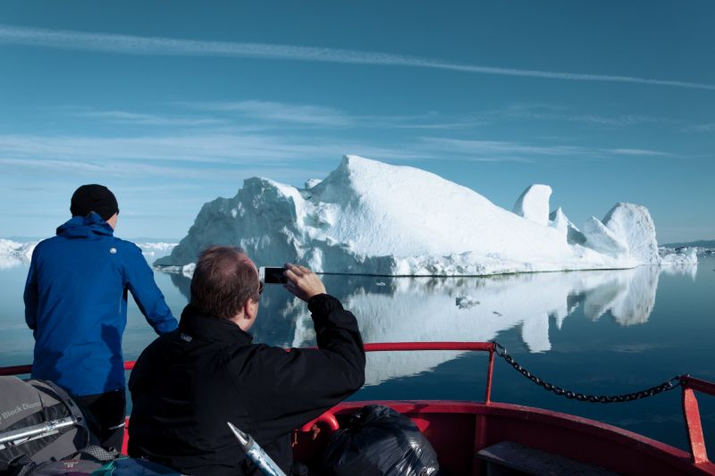 The floating icerbergs in Disko Bay Greenland
