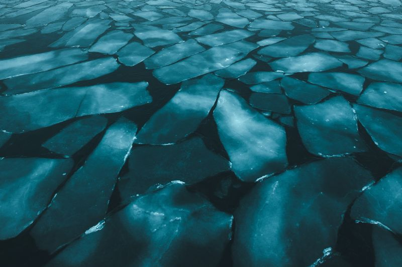 Ice formations in Disko Bay in Greenland