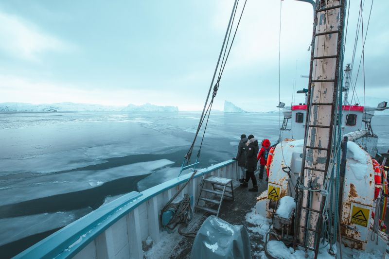 Out in Disko Bay visiting the frozen giants