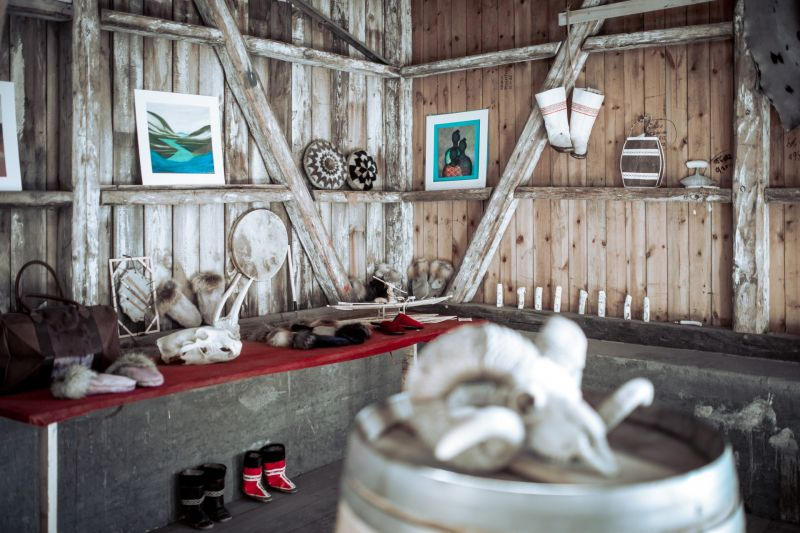 An art craft ship inside Hotel Narsaq in South Greenland