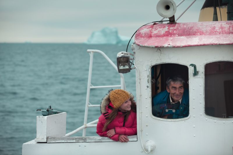 Searching for whales in Disko Bay Greenland