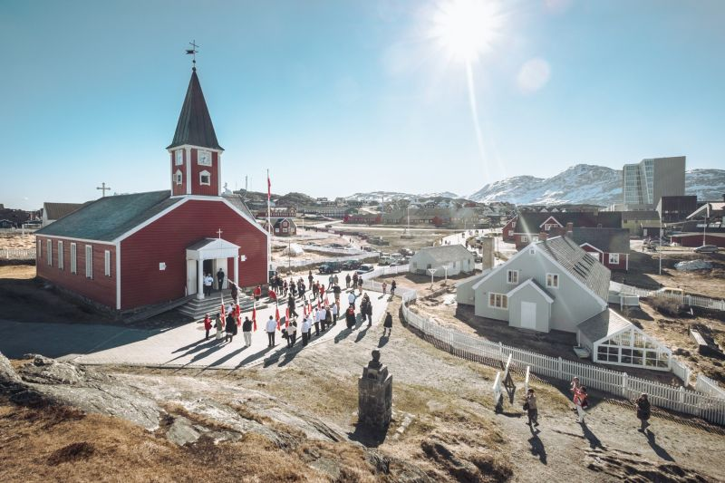 The old church in Nuuk with National Day celebrations