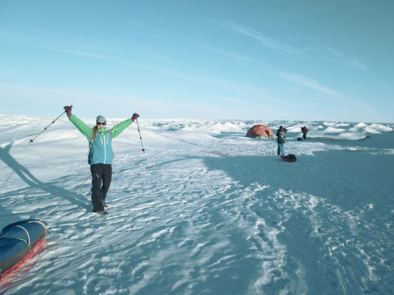 Arriving at the camp on the Greenland ice cap