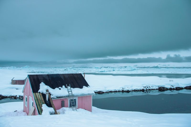 Colorful Greenlandic house in East Greenland