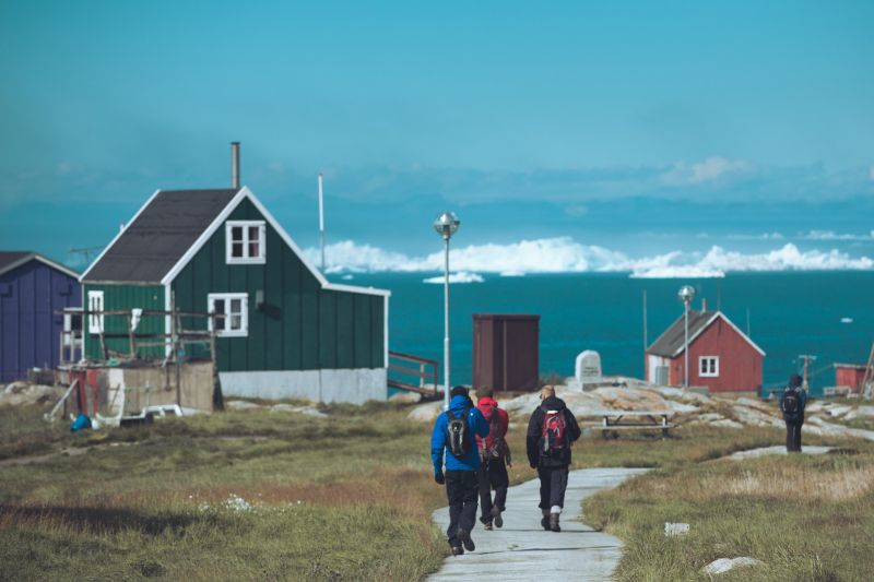 Walking through the settlement of Ilimanaq